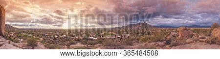 Panorama desert landscape view of North Scottsdale, Carefree,Cavecreek, Boulders area in Arizona, North of Phoenix.