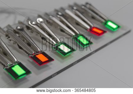Small R G Oled Displays Is Lighting On A Probe Station. Lighting Display Technology.
