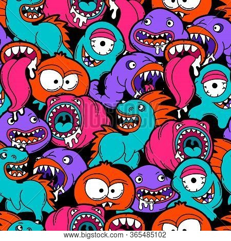 Seamless Pattern With Cartoon Monsters. Urban Colorful Teenage Creative Background. Evil Creatures I