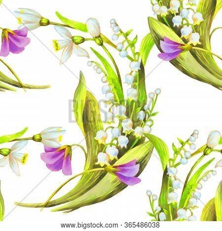 Spring Flowers Watercolor Flowers Seamless Pattern
