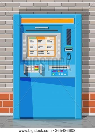 Bank Atm On Street. Automatic Teller Machine. Program Electronic Device For Payments And Withdraw Ca