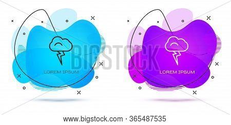 Line Storm Icon Isolated On White Background. Cloud And Lightning Sign. Weather Icon Of Storm. Abstr