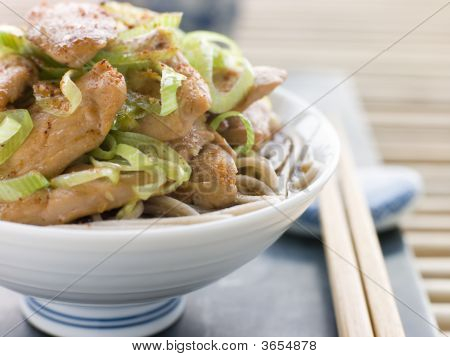 Bowl of Chicken and LeekSoba Noodles in Broth poster