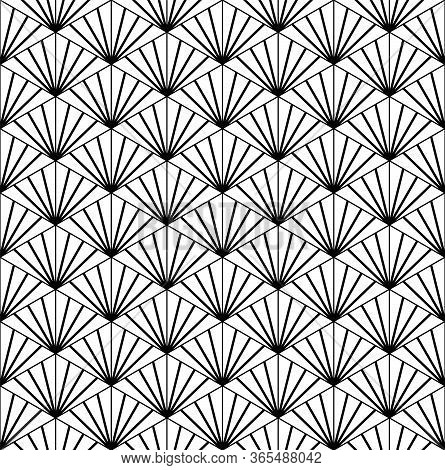 Seamless Pattern Based On Japanese Ornament Kumiko Black And White.thick And Average Lines.