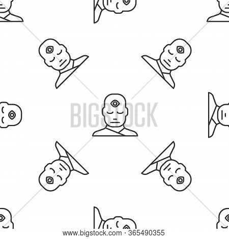 Grey Line Man With Third Eye Icon Isolated Seamless Pattern On White Background. The Concept Of Medi