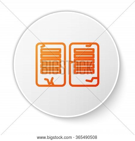 Orange Line The Commandments Icon Isolated On White Background. Gods Law Concept. White Circle Butto