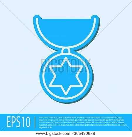 Blue Line Star Of David Necklace On Chain Icon Isolated On Grey Background. Jewish Religion. Symbol