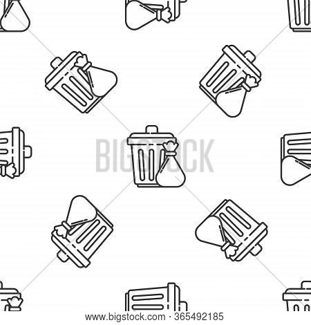 Grey Line Trash Can And Garbage Bag Icon Isolated Seamless Pattern On White Background. Garbage Bin