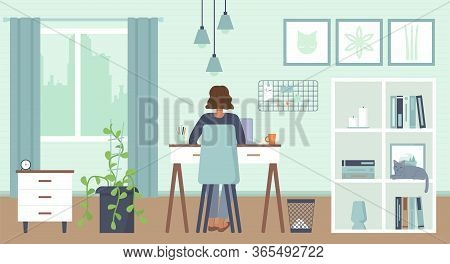 African American Woman Sitting Behind With Laptop At Home With Mask. Cozy Interior. Home Office, Wor