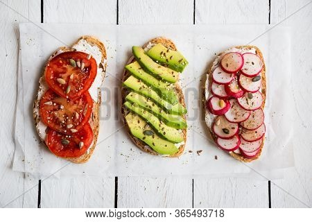 Vegetable Sandwiches With Radish, Avocado And Tomato, Healthy Vegan Snack