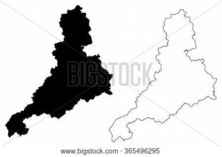 Jinan City (people's Republic Of China, Shandong Province) Map Vector Illustration, Scribble Sketch