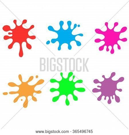 Colorful Paint Splatters On White Background. Flat Style. Paint Splashes Icon For Your Web Site Desi