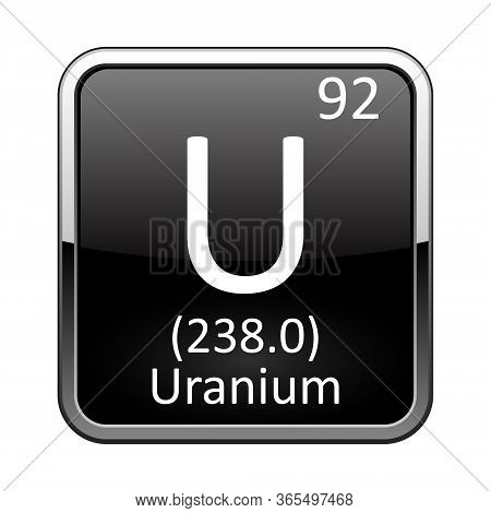 Uranium Symbol.chemical Element Of The Periodic Table On A Glossy Black Background In A Silver Frame
