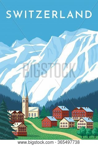 Switzerland Travel Retro Poster, Nature Vintage Banner. Summer Alps Landscape, Mountain Austria Vill