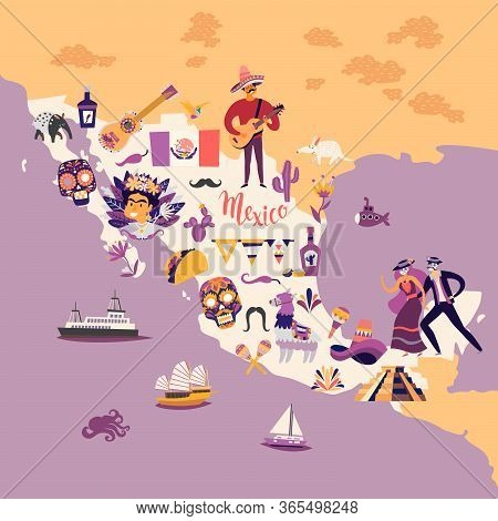 Mexico Map Cartoon Style Vector Illustration. Mexico With Traditional Symbols And Decorative Element