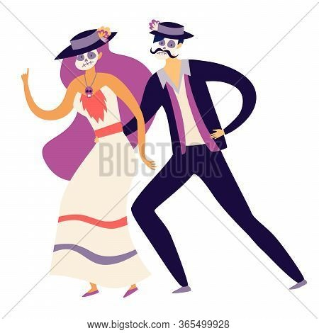 Mexican People Dancing On Mexican Mexican Death's Day Vector Illustration. Man And Woman With Skull