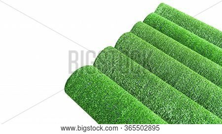 Artificial Grass Lawn Texture Isolated On White. Artificial Turf Background. Greening With An Artifi