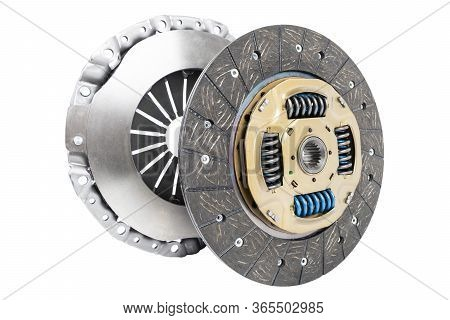 Car Repair Kit Clutch Manual Gearbox Isolated On A White Background. Car And Truck Clutch Disk. Comp