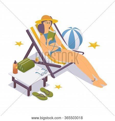 Isometric Girl In Bikini Near The Sea, In A Deck Chair Reads A Book.
