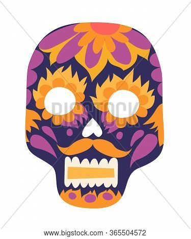 Mexican Skull Vector Illustration. Smiling Human Skull Drawing Cartoon Sign. Yellow And Purple Color