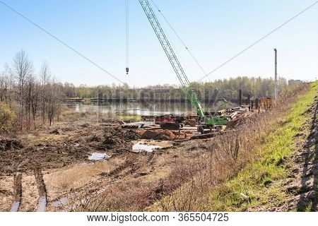 Kirishi, Russia - 8 May, Preparatory Work For The Construction, 8 May, 2020. Start Of Construction O