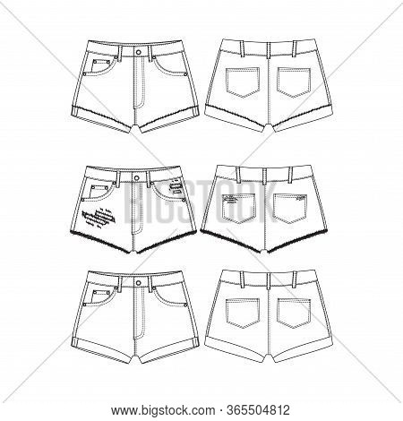 Set Of Short Pants, Flat Sketch Template, Vector, Apparel Template. Technical Sketch Of Shorts. Shor