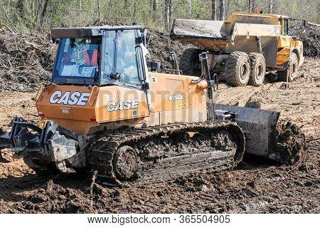 Kirishi, Russia - 8 May, Medium Bulldozer At Earth Moving, 8 May, 2020. Start Of Construction Of A M