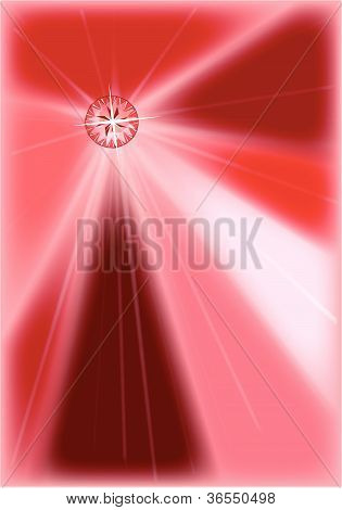 A red ruby set into a red' background of rays'. poster