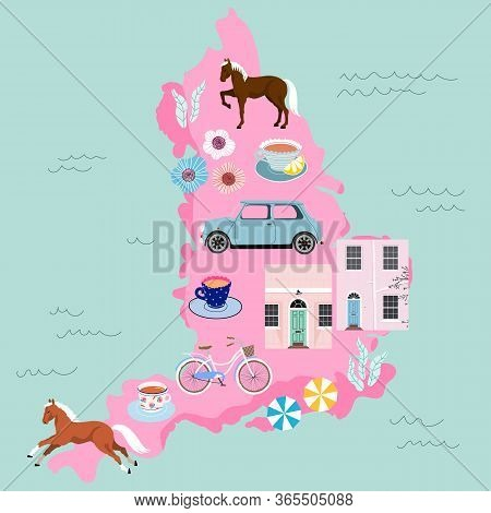 Modern Vector Map On English Country. English Traditions And Culture Concept. Variety Of Typical Ele