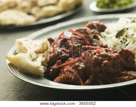Pewter Plate With Meat Phall Fragrant Basmati And Naan