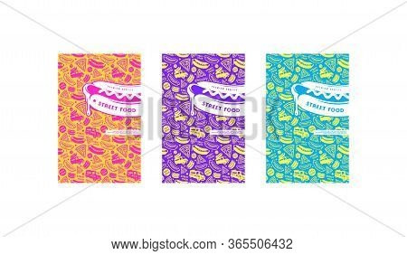 Set Of Menu Cover, Label, Logo And Seamless Pattern For Street Food Diner. Various Colors Background