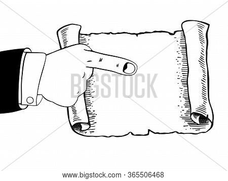 Icon Of Human Hand Indicates To An Empty Parchment, Scroll. Pointing Finger. Blank Sheet White Paper