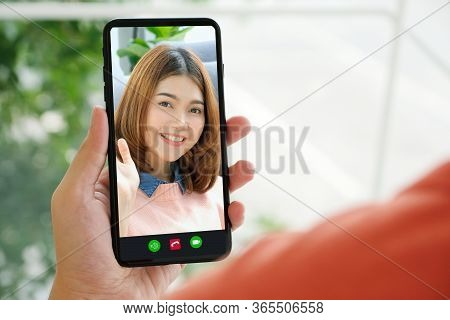 Video Call Conference, Happy Girl Having A Video Chat On Mobile Phone At Home, Asian Woman Talking V