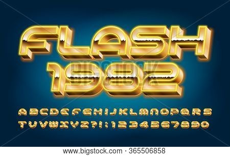 Flash 1982 Alphabet Font. 3d Neon Letters, Numbers And Symbols In 80s Style. Retro-futuristic Vector