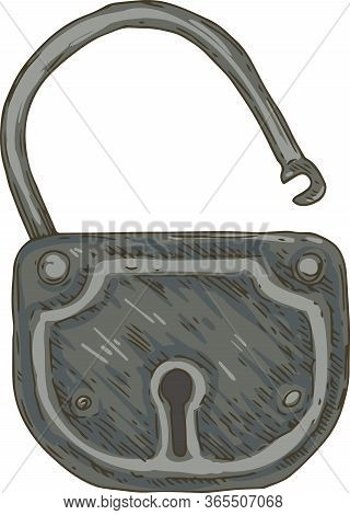 Vintage Brass Padlock. Isolated On White Background.