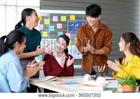 Business Success Corporate, Happy Asian Teamworks Applause For Celebration, Group Of Business Team C