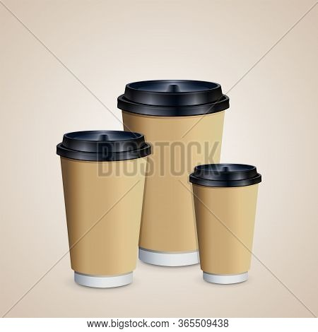 3 Coffee Cups Mock-up With Brown Holder On Brown Background. Cups Of Different Size. Mock Up. Mock-u