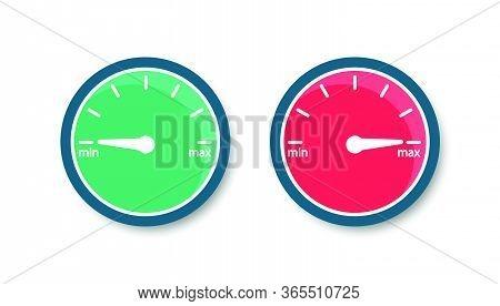 Speedometer From Minimum To Maximum. Internet Speed. Vector Icon Gauge. Flat Style.