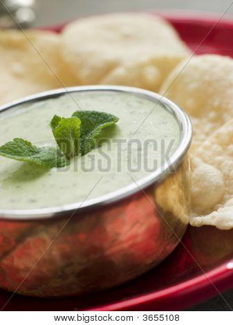 Fresh Green Yoghurt Chutney With Mini Papadoms