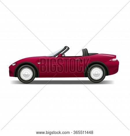 Cabriolet Car. Sports Red Car On Road Vector Realistic Pictures. Auto Realistic, Car Vehicle Cabriol