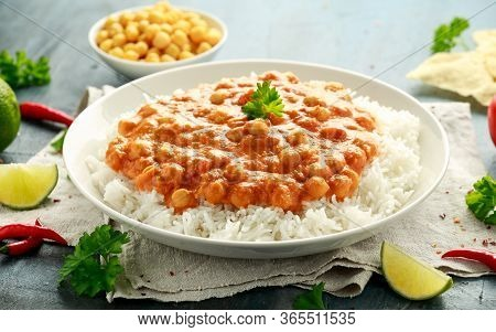 Chickpeas Curry With Rice, Tomato And Poppadoms In White Plate. Healthy Tasty Vegetarian Food