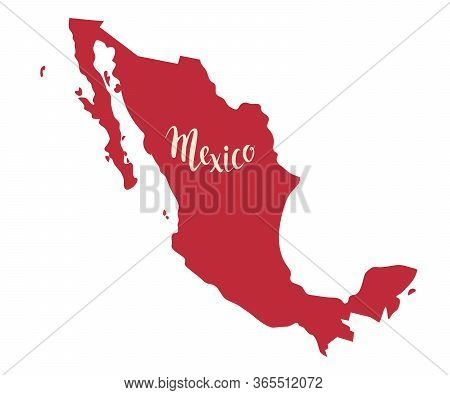 Mexico Map Contour Vector Illustration. Drawing Cartoon Sign. Red Color Map With Mexico Text, Isolat