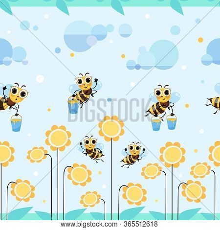 Bee Meadow. Flowers. Swarm Bees Collects Honey. Background, Seamless Pattern