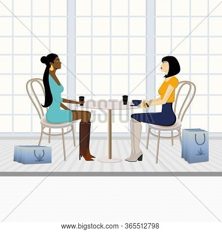 Girlfriend Conversation Vector Illustration. Chat Over Coffee With Friend. Gossips. Two Young Girls