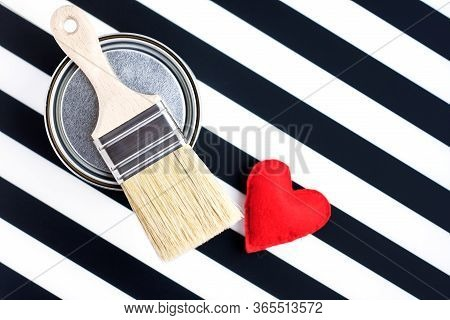 Paint Metal Round Can And New Brush And Heart On Black And White Background. Focus On Brush. House R