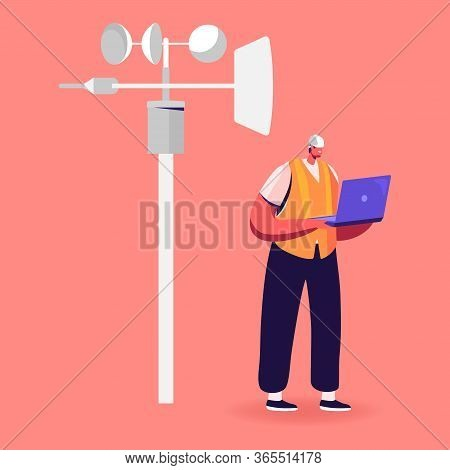 Male Character In Worker Robe And Hardhat Hold Laptop Learning Meteorological Indicators At Meteo St
