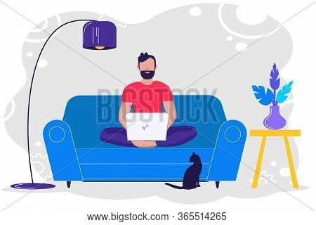 Stay Home. Freelance And Telework Or Studying Concept. Man Sitting On Sofa And Working On Laptop At