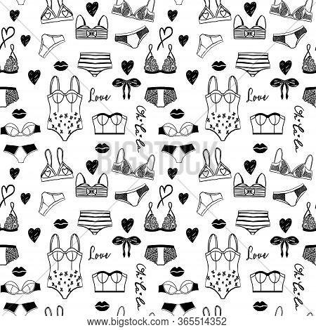 Vector Lingerie Seamless Pattern. Vector Underwear Background Design. Outline Hand Drawn Illustratio