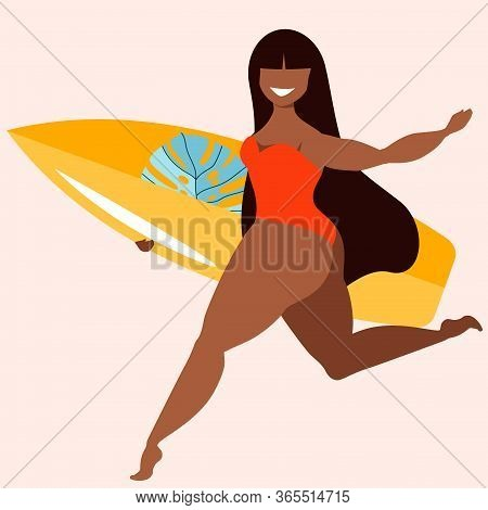 Dark Hair Girl Holding Surfing Board. A Girl With A Surfing Board. Tanned Beauty Female Surfer. Acti
