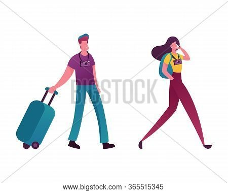 People With Luggage Book Cheap Flight, Saving Budget Concept. Male And Female Couple Characters Buyi